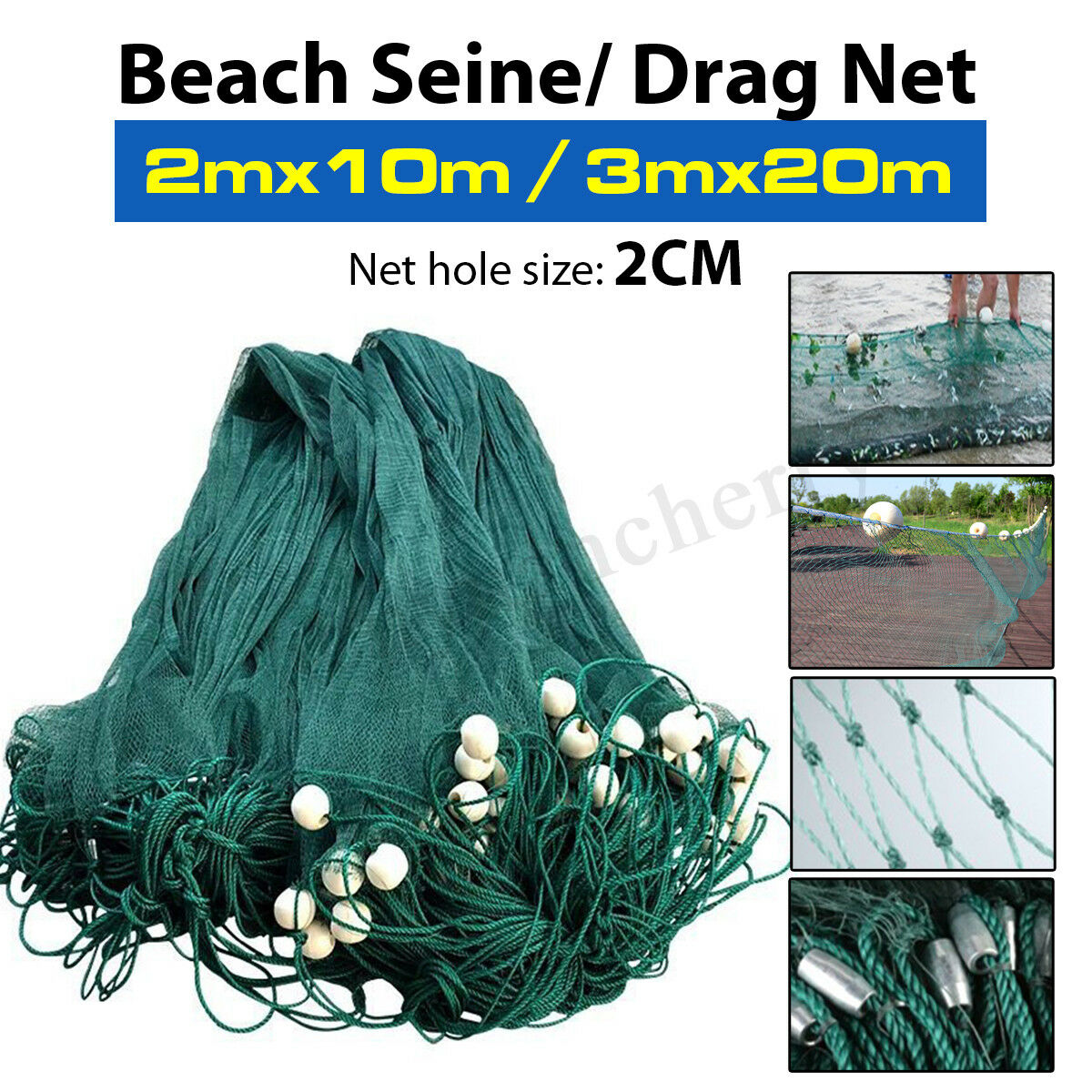 Fishing  Drag Net 2x10M 3x20M Beach Seine Nylon 2cm Mesh Floats & Sinkers Green