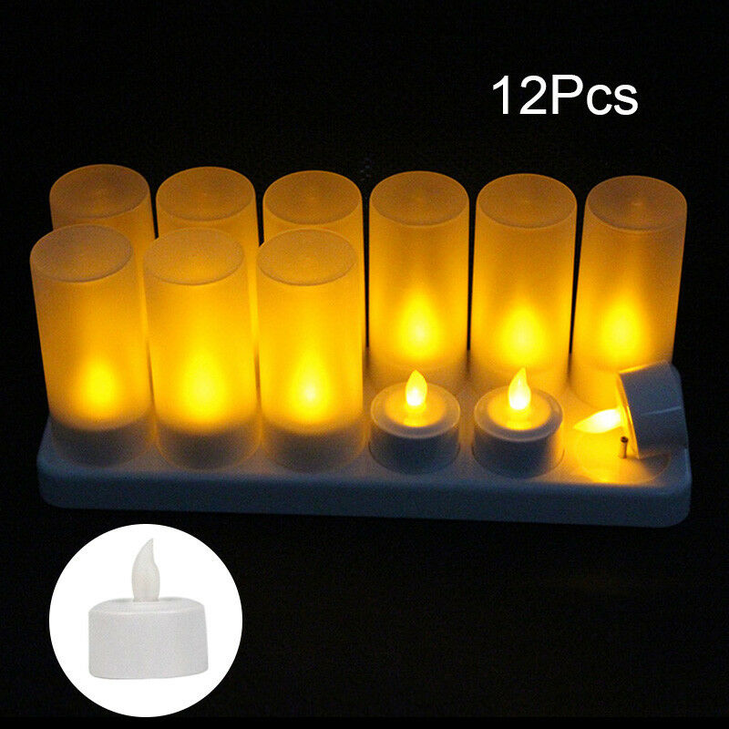12  LED Warm white Rechargeable Flameless Tea Light Candles US EU UK  AU Plug