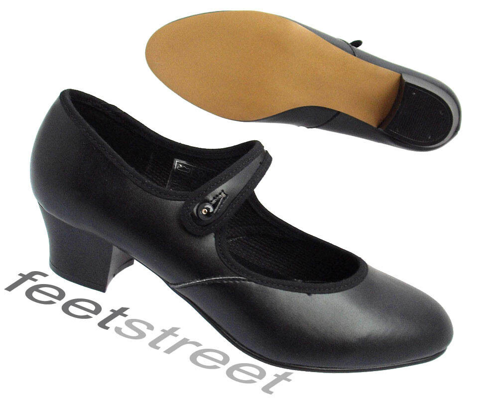 BLACK PU CUBAN HEEL CHARACTER/ STAGE /DANCE SHOES SIZE 1 up to ad 8