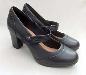 Brynn Clarks Leather Mare Womens New Black Shoes 5dxBadS