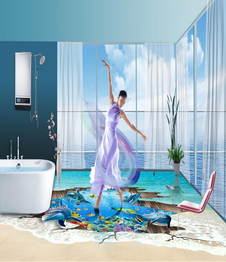 3D Beach Dolphin 4966 Floor WallPaper Murals Wall Print Decal AJ WALLPAPER CA