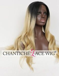 """Lace Front Wigs Long Wavy Ombre Black&Blonde Synthetic Hair Heat Resistant 24"""""""