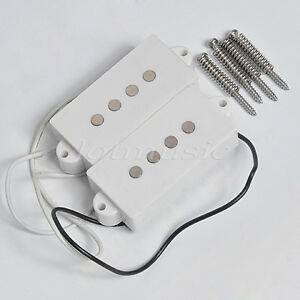1 set 4 string humbucker pickups for fender bass guitar replacement white black ebay. Black Bedroom Furniture Sets. Home Design Ideas