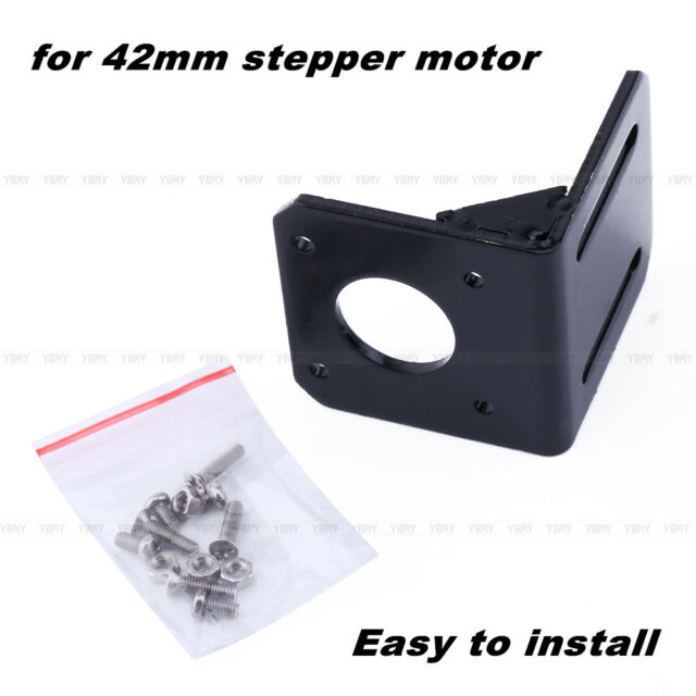 Alloy Steel Mounting Bracket For 42mm NEMA17 Stepper Motor With Screws Black NEW