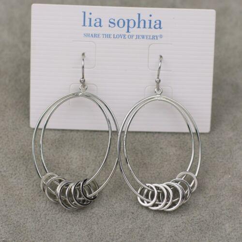 Neuf avec étiquettes Lia Sophia Argent Tone Drop Hoop Dangle Boucles d/'oreilles rond anneau simple Texture