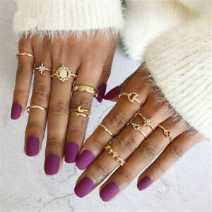 13PCS//set BOHO Moon /& Star Knuckle Opal Finger Ring Set Crystal Crown Midi Rings