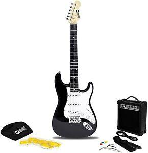 Rockjam egitarre superkit tamaño completo guitarras amplificador TFD accesorios Negro OVP