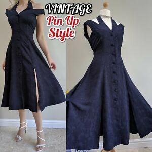 Detalles de Vintage 90s Pin Up costura dividida de Vestido Halter Frío Hombro Fit FLARE UK 14 nos 10 ver título original