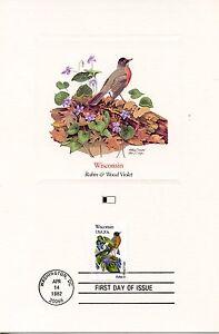 Le Meilleur First Day Of Issue / Fdc / Oiseaux & Fleurs Des 50 Etats Des Usa / Wisconsin