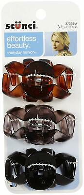 37224-A 3 Pack 9 Clips Jaw Hair Clips Scunci Octopus Clips Brown Black Gray