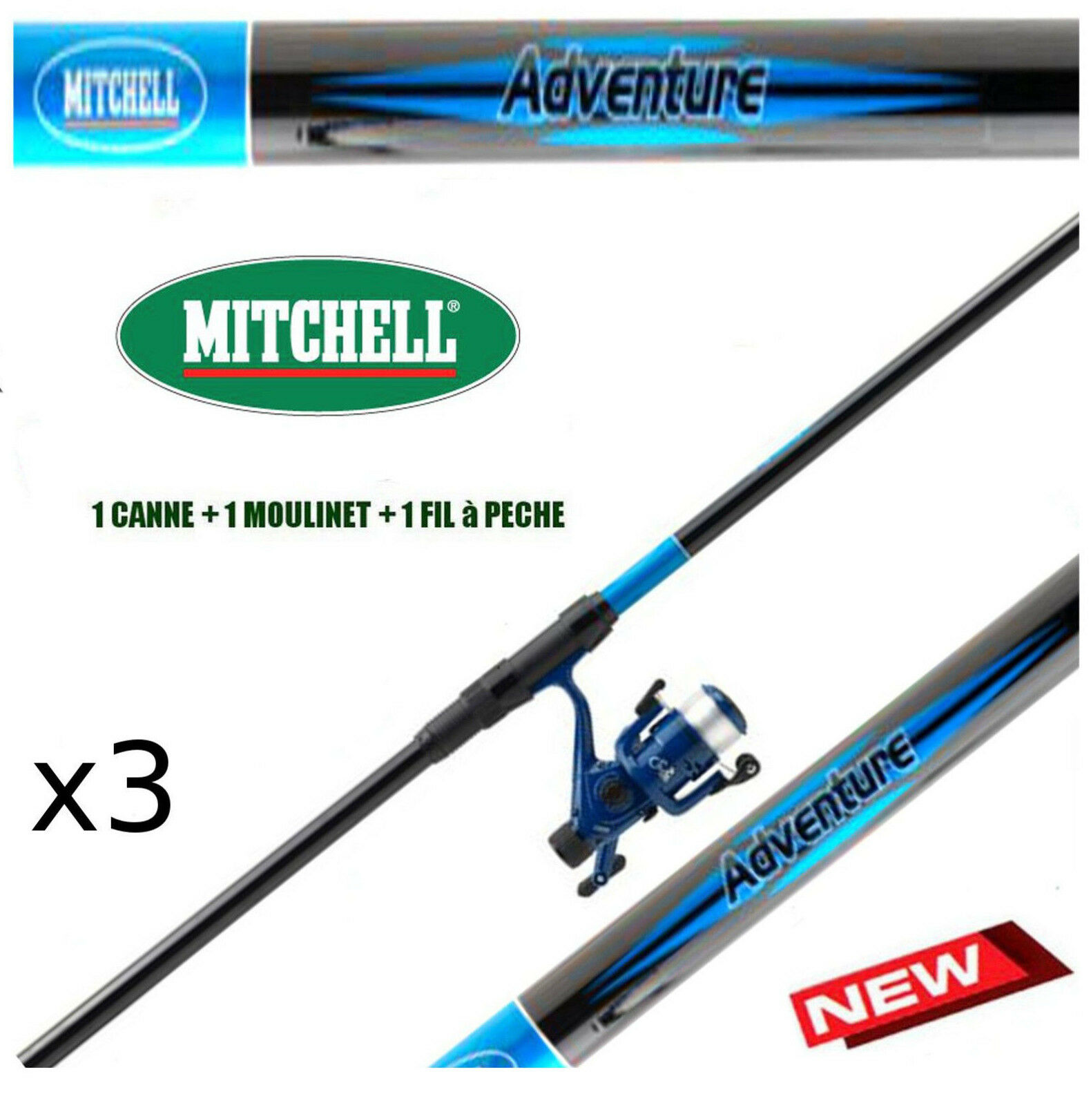 Canne a peche MITCHELL truite Telescopique Mer  moulinet  fil  LOT x3