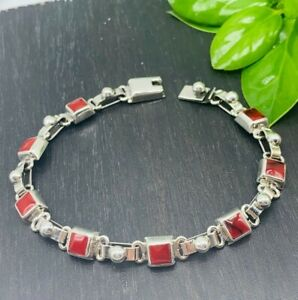 Taxco-Mexican-925-Solid-Sterling-Silver-Red-Jasper-Links-Bracelet-From-Mexico