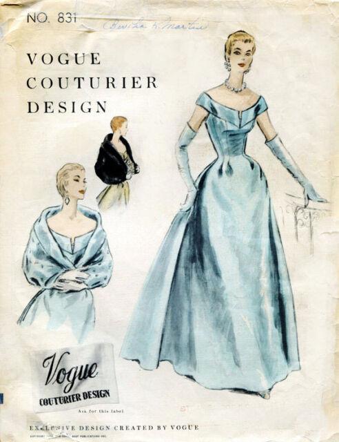 1954 Vintage VOGUE Sewing Pattern B32 DRESS EVENING DRESS CAPE (1750R)