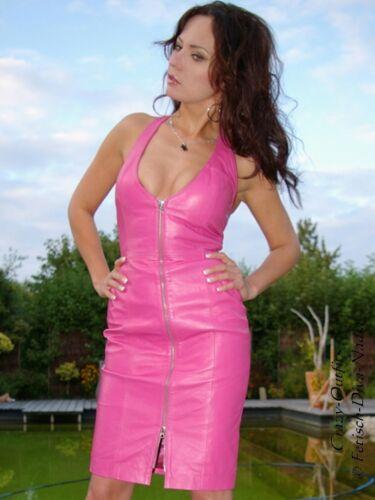Lederkleid Leder Kleid Pink Neckholder Knielang Größe 32-58 XS XXXL