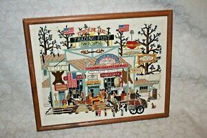 Vintage-Charles-Wysocki-034-Timberline-Jacks-034-Trade-Post-21x17-034-Framed-Needlepoint