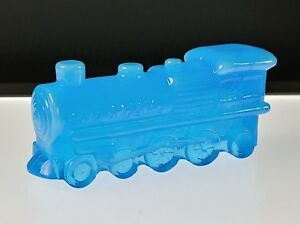 11-AZURE-BLUE-ENGINE-TRAIN-LOCOMOTIVE-Boyd-039-s-Crystal-Art-Glass-3-26-86-NOS