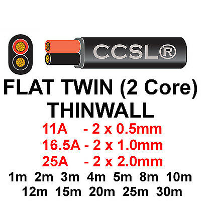 5M Black 1.5mm 21Amp Thinwall 12v Automotive Cable Wire Marine