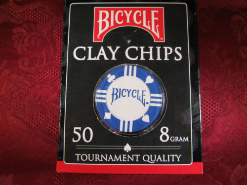 50 Pc Bicycle Clay Tournament Casino Quality Poker Texas HoldEm 8 Gram Chips