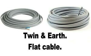 Flat twin lighting cable 0.75mm black white 1-50 metre 6 amp you choose length