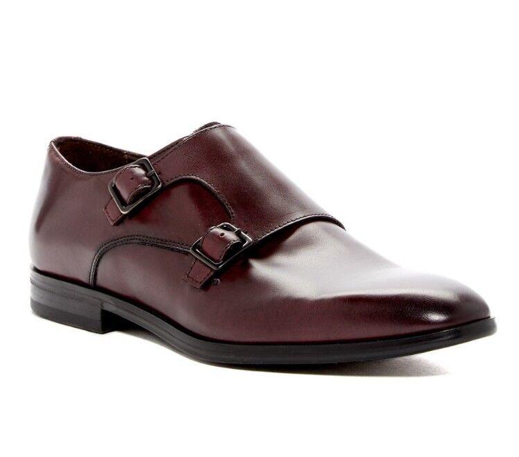 Bruno Magli Siracusa Bordo Leather Double Monk Strap Loafers SZ 11.5 NIB 0 Scarpe classiche da uomo