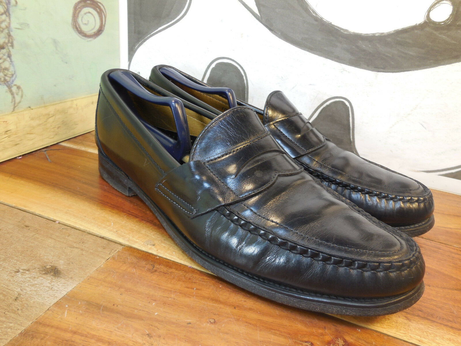 Black Leather Men's Penny Loafers Men's Leather 10.5A Vintage NICE! d1a212
