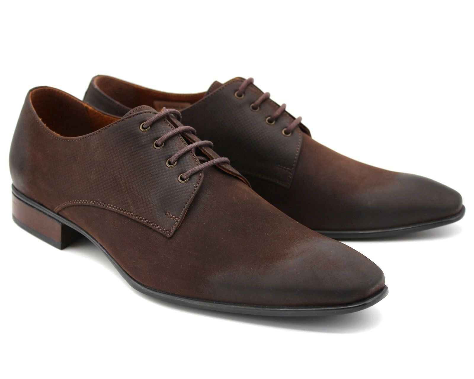 195 MENS BROWN REAL LEATHER SMART SHOES LACE UP OFFICE WORK WEDDING