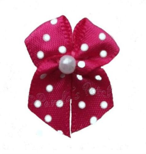 Polka Dot Satin Ribbon Bows with Single Pearl Choose Colour /& Pack Size Free P/&P