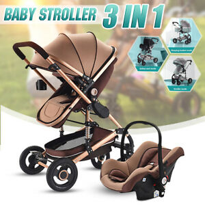 3-in-1-Baby-Stroller-High-View-Landscape-Pushchair-Folding-Carriage-Car-Seat