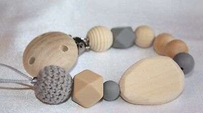 Grey Pacifier chain,wooden teether,baby holder toy,Beaded Wooden Dummy clip
