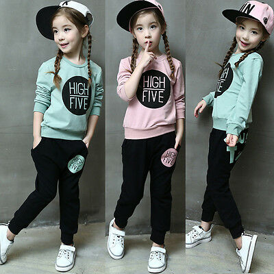 2Pcs Baby Girls kids Print Long Sleeve Tops Sweater+Pants Hoodie Outfits Sets