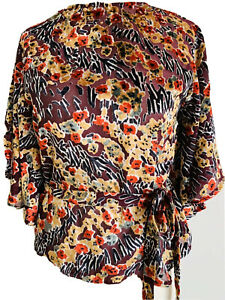 Topshop Burgundy Floral Velvet Blouse Retro Batwing Sleeves Tie Up Waist Size 8