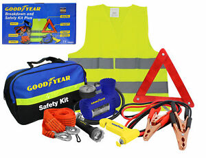 Goodyear-8pc-Vehicle-Safety-Kit-Tow-Rope-Jump-Lead-Torch-Air-Compressor-Triangle