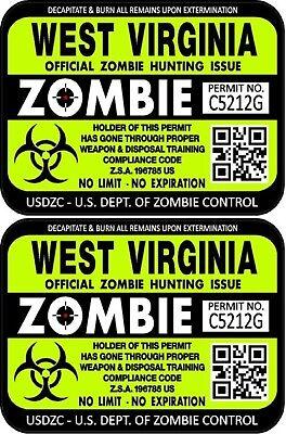 "ProSticker 1258 Two 3/""x4/"" West Virginia Zombie Hunting License Decals Sticker"
