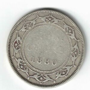 NEWFOUNDLAND-1880-50-CENTS-HALF-DOLLAR-VICTORIA-STERLING-SILVER-CANADIAN-COIN