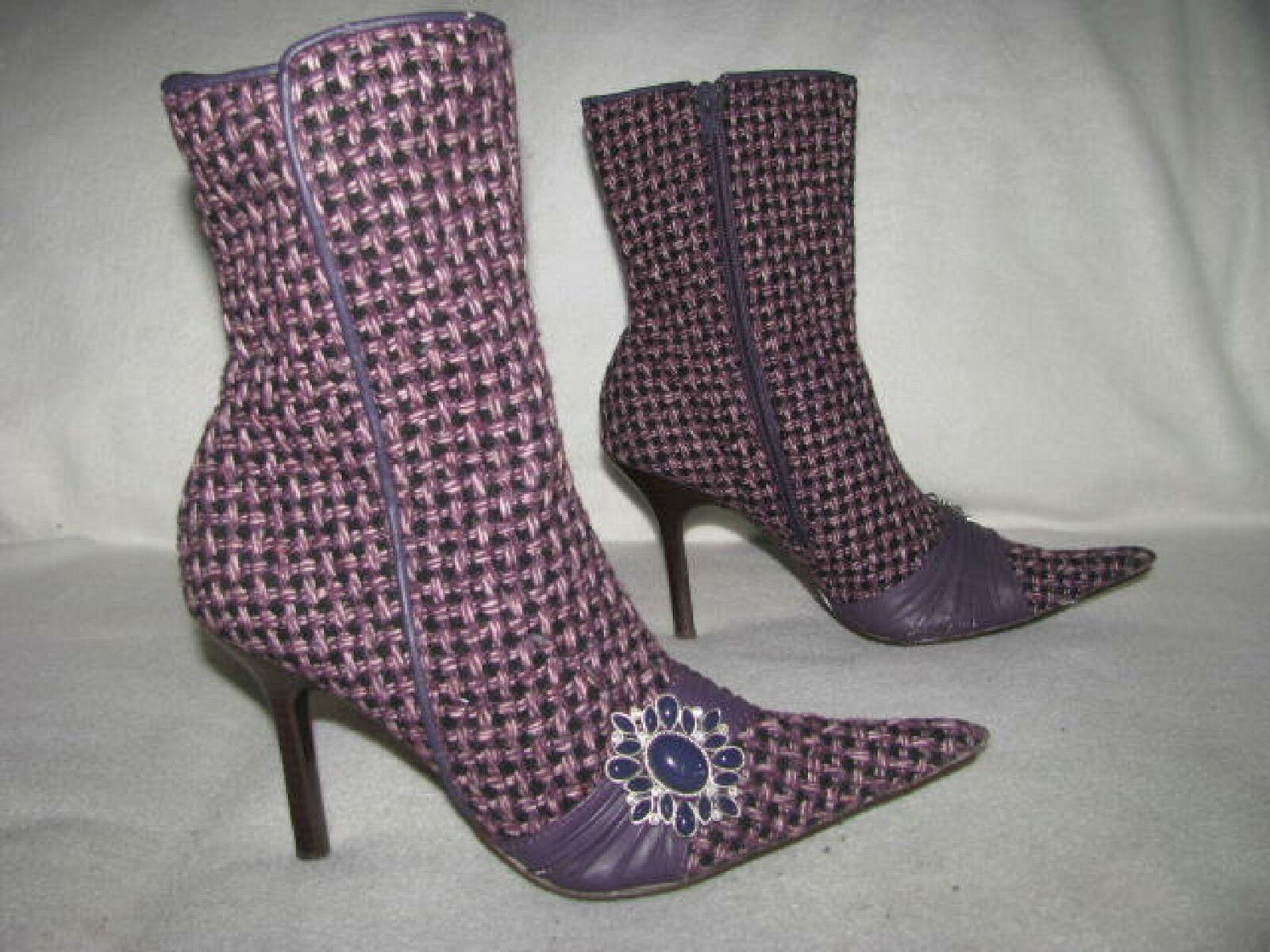 STEVE MADDEN Dynasti Purple Tweed Fashion Heel Zip Boots Fashion Pointy Toe