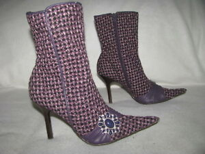 58924f04155 STEVE MADDEN Dynasti Purple Tweed Fashion Heel Zip Boots Fashion ...