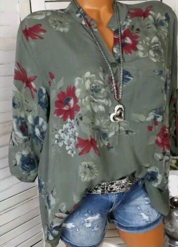 Women V-neck Chiffon Tops Long Sleeve Tunic Blouse Flower Print Shirts New Size