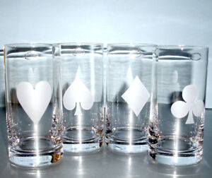 d48a58a4ea2 Kate Spade Gin Rummy Highball Set 4 Glasses Crystal Frosted Card ...