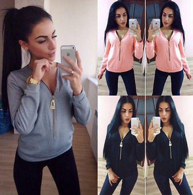 Sexy Womens Jumper Ladies V-neck Long Sleeve Casual Blouse Loose Top T-Shirt New
