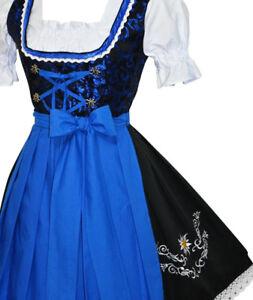 Blue German Dirndl Waitress Dress Oktoberfest Women Short Party EMBROIDERED 3pc