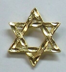 Jewish Star of David Lapel or Hat Pin in Gold Plate Made in USA by ... 4aacfb5cbd8