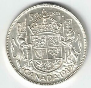 CANADA-1939-50-CENTS-HALF-DOLLAR-KING-GEORGE-VI-CANADIAN-800-SILVER-COIN
