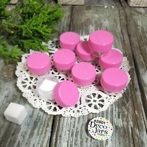 12 Micro Jars 1/8 oz .25oz Cache Skincare Container 2801 Pink cap Reusable USA
