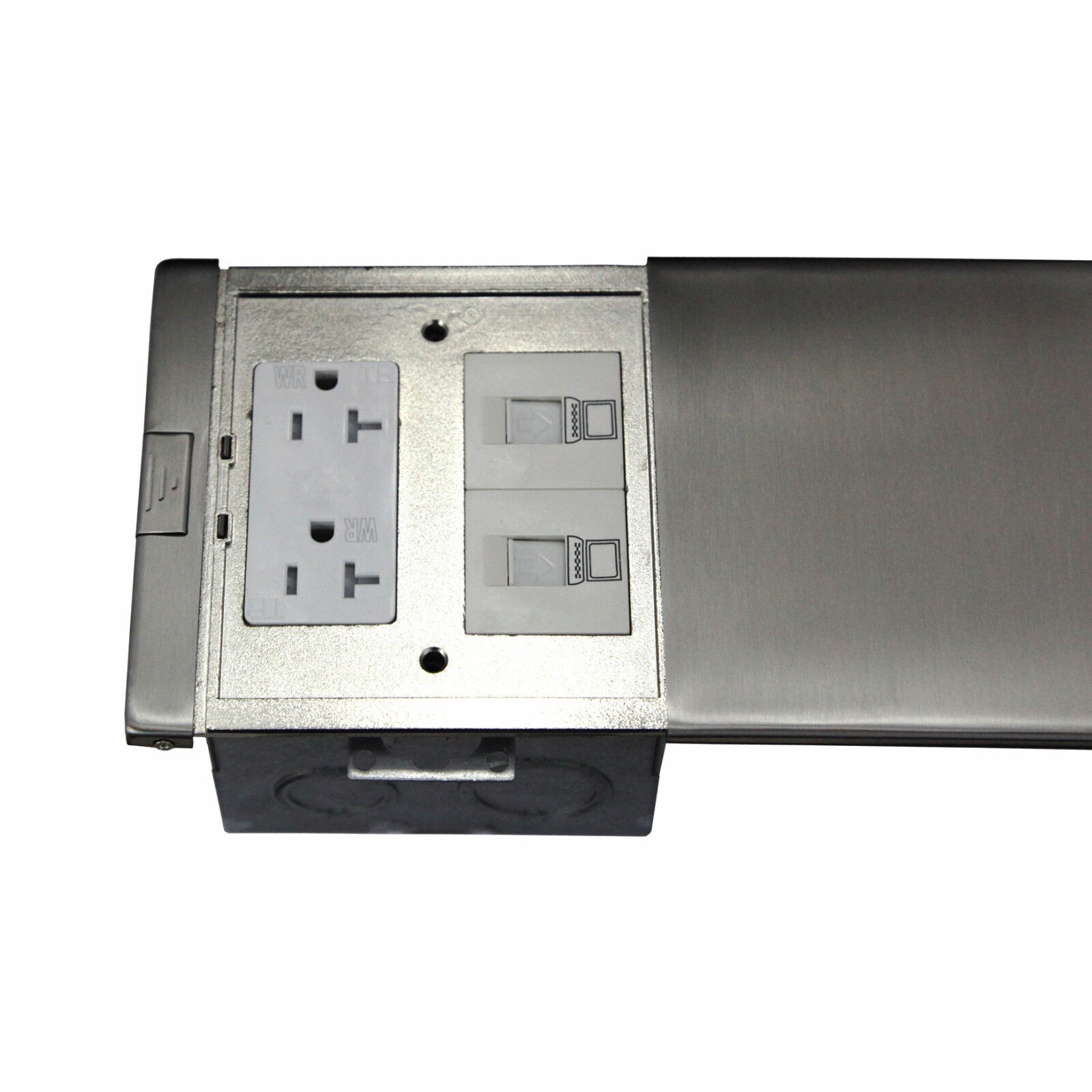 Ultra thin flat push floor box 20a twr receptacle low for Floor receptacle