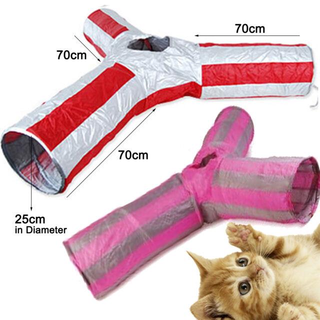 3 WAY Folding Pet Fun Tunnel Cat Kitten Dog Rabbit Play Toy RED
