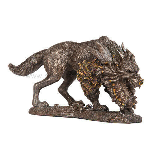 Norse Viking Decorative Giant Wolf Fenrir Monster Beast Figurine Statue Paganism