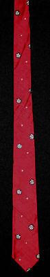 Appena Vintage 1950's -1960's Seta Rosso Cravatta Con Bianco Disegni Per Vincere Una Grande Ammirazione