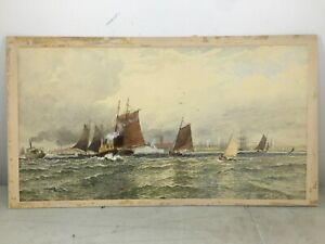 ANTIQUE-BOAT-WATERCOLOR-PAINTING-FREDERIC-MARLETT-BELL-SMITH-Haynes-art-gallery