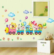 Animal Train Wall Stickers Nursery Kids Baby Room Decor Art Vinyl Mural Decals