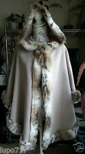 WOMENS BEIGE LUXURY FAUX FUR HOODED WINTER CAPE COAT PONCHO ONE SIZE NEW